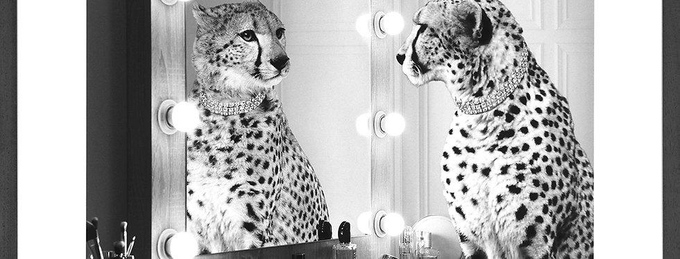 """Tableau affiche """"Guépard devant un miroir éclairé """""""