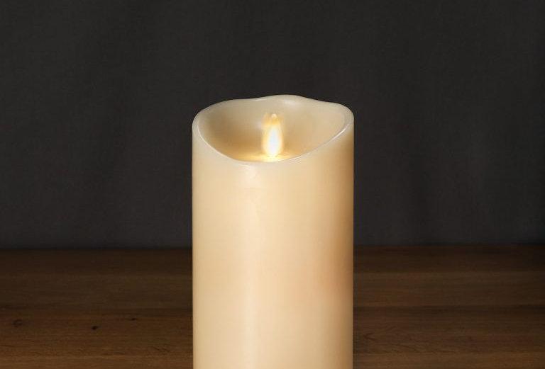 Bougie LED cire véritable 9x18 cm ivoire