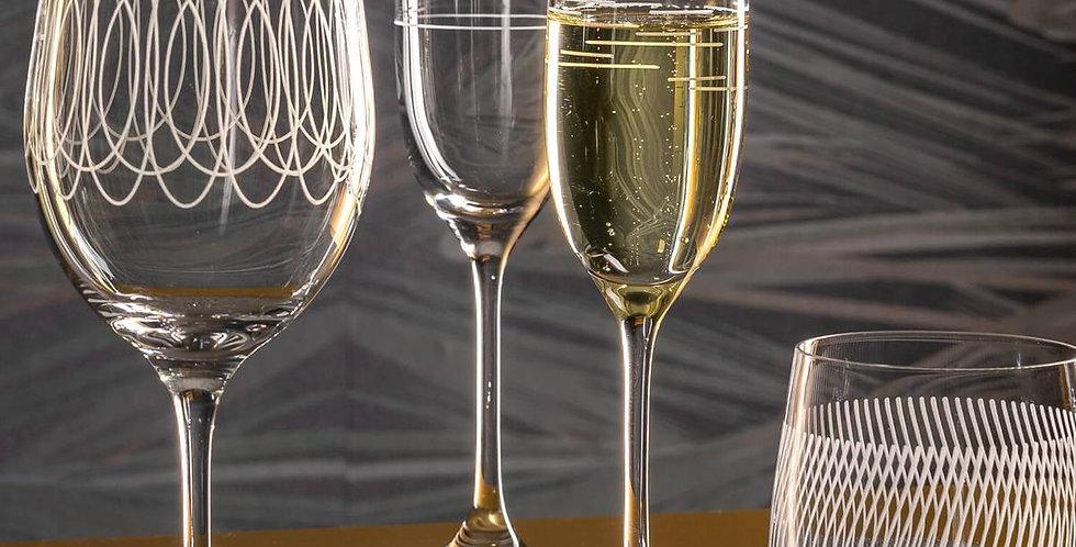 6 verres à champagne Casella 190 ml avec gravure