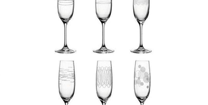 6 flûtes à champagne avec motifs 190 ml - Leonardo