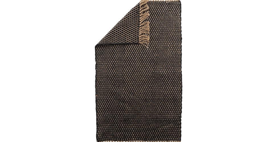 Tapis jute/coton Losanges noir/naturel