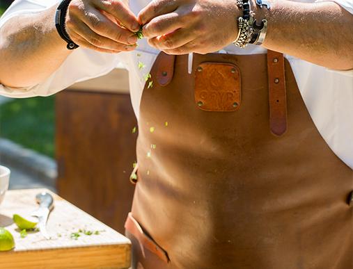 tablier ofyr cuir marron