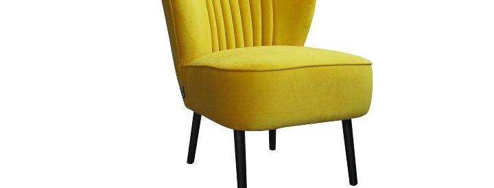Fauteuil Retro velour jaune