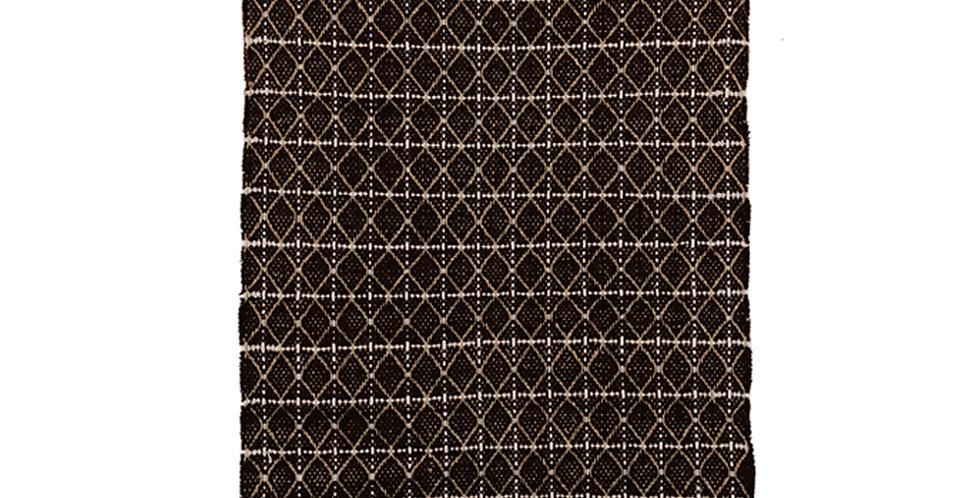 Tapis jute/coton Chevrons noir/naturel/blanc