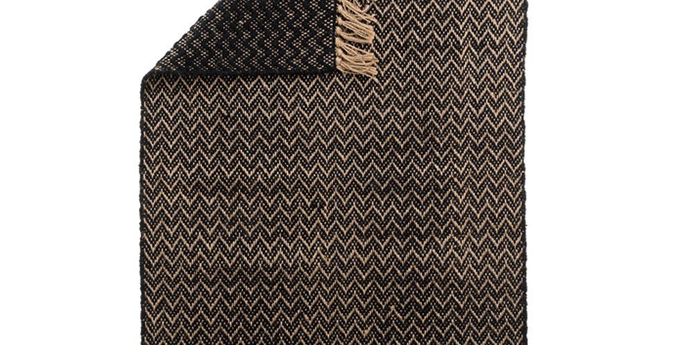 Tapis jute/coton Chevrons noir/naturel