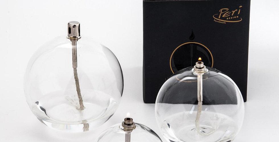 Trio 3 lampes à l'huile rondes + 1L huile de paraffine