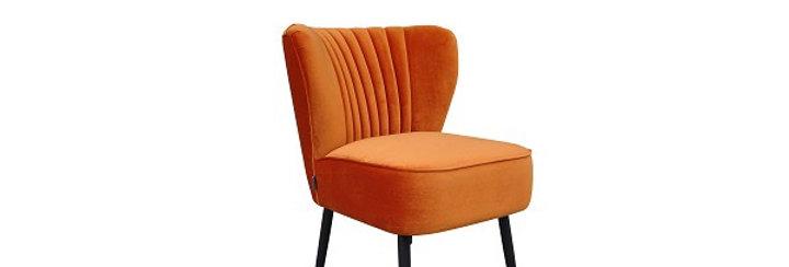 Fauteuil Retro velour orange
