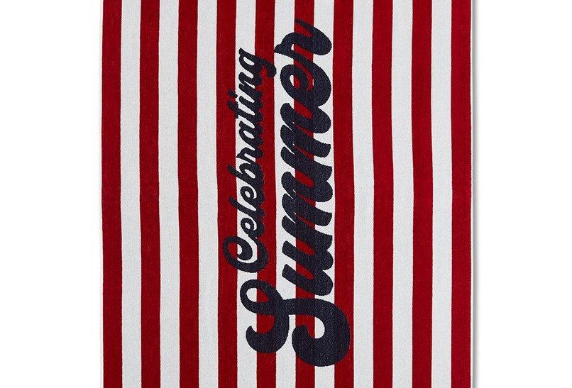 Serviette de plage en velours de coton rayée rouge & blanc