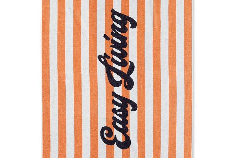 Serviette de plage en velours de coton rayée orange & blanc