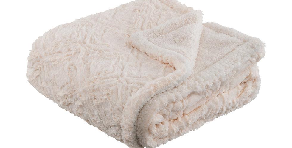 Couverture de lit façon fourrure Islande Ecru