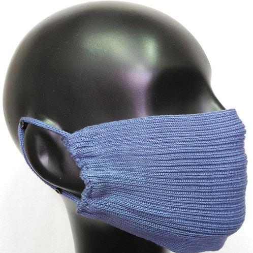 Máscara de tricô azul jeans