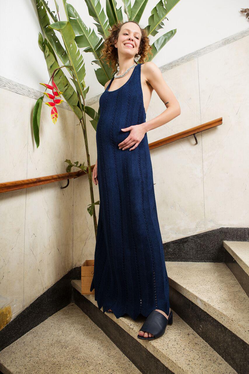 vestido tricô azul