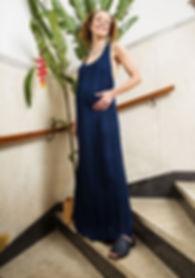 vestido textura azul