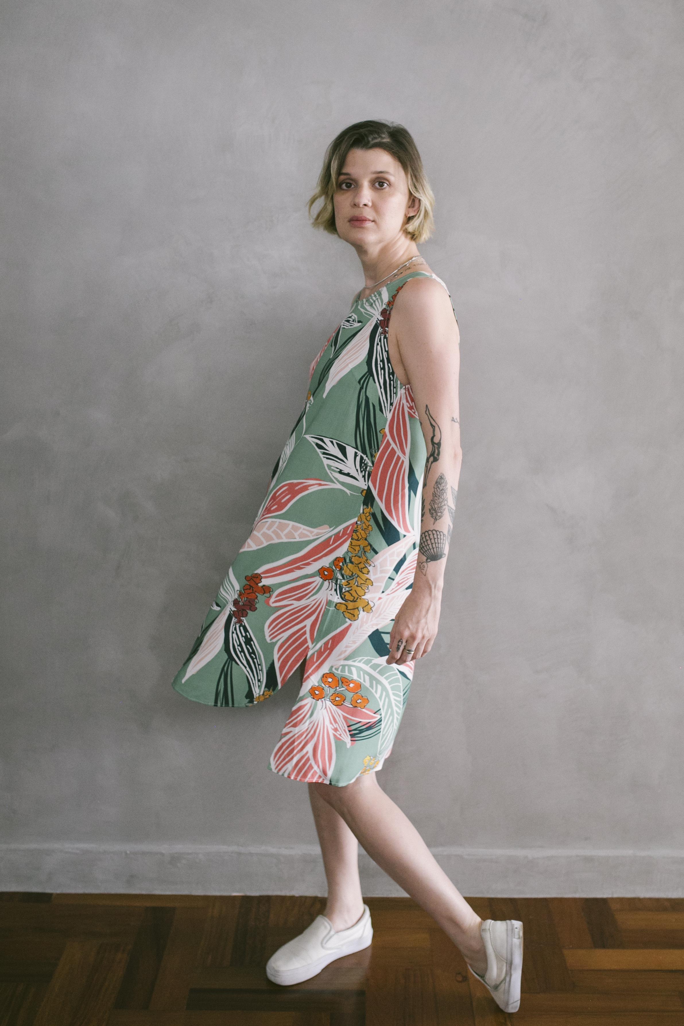vestido panou estampado
