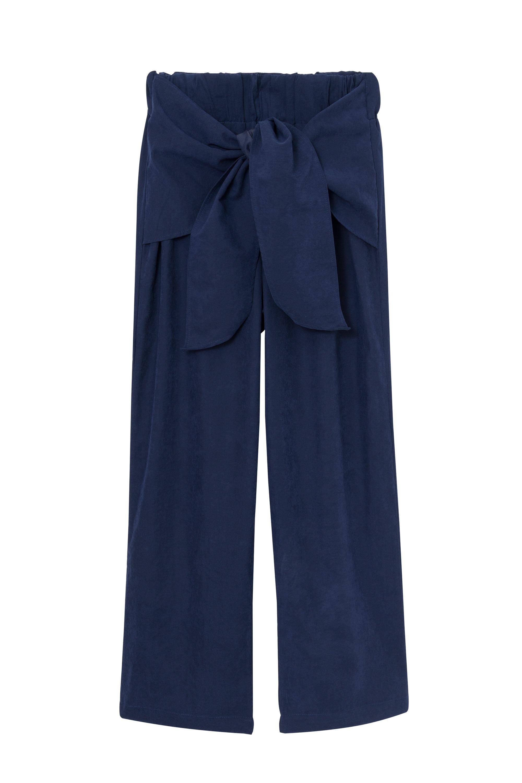 calça de elástico e amarração azul marin