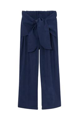 calça de elástico e amarração azul