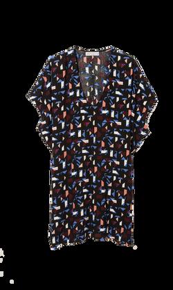 vestido print geometrico