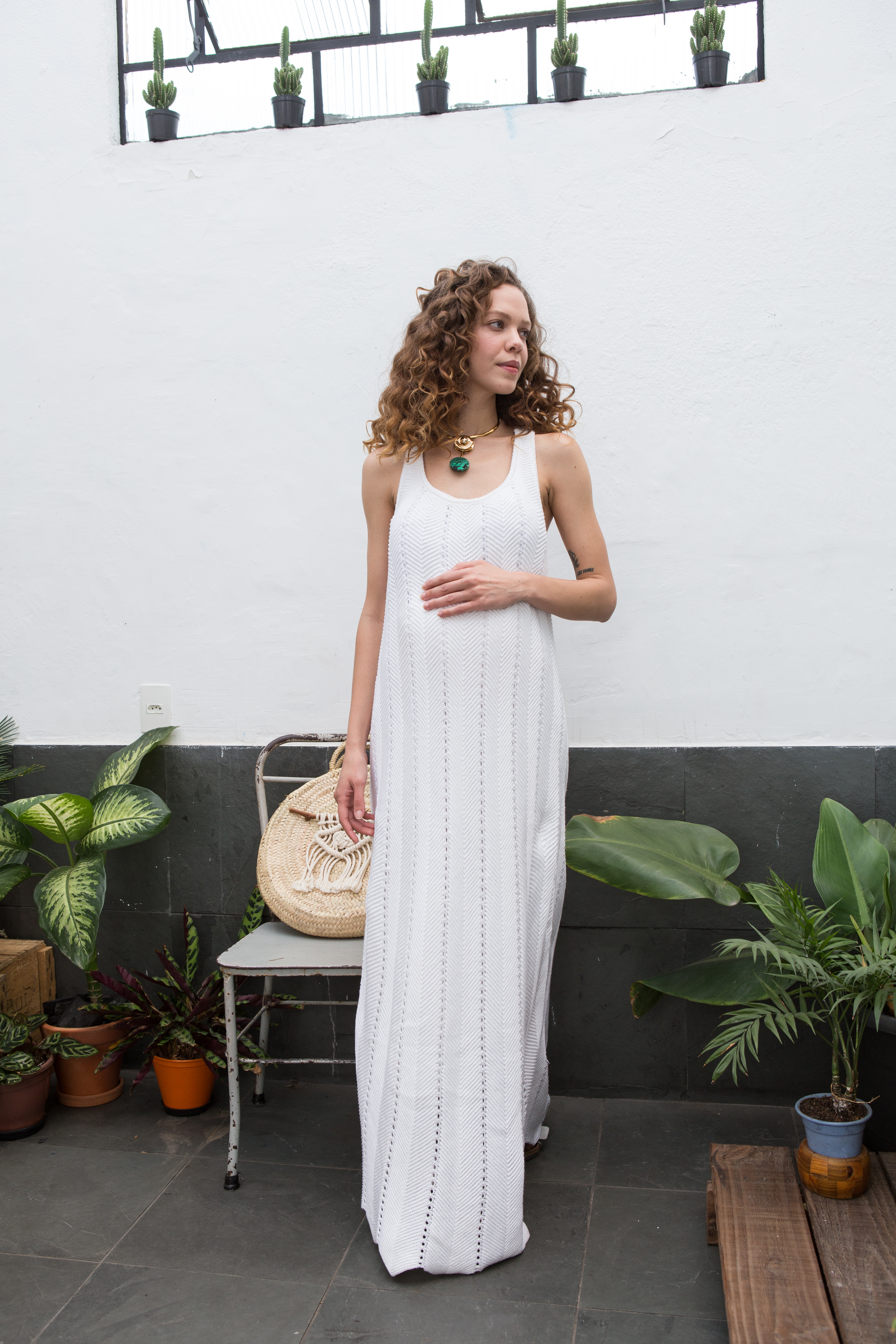 vestido textura branco
