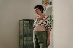Mini kimono print e Calça linho verde