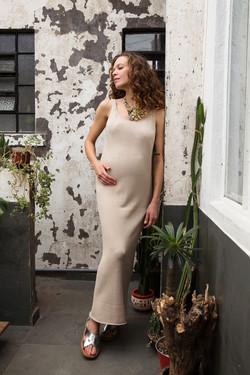 vestido tricô de algodão