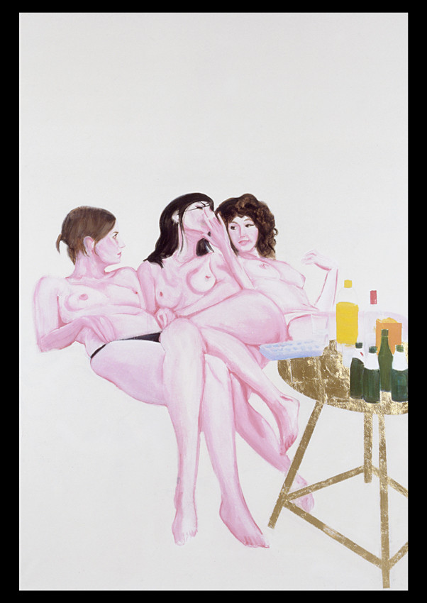 Jill, Emilie and Valentine in my studio 2006 huile, feuille d'or et glycero sur toile /oil and gold leaf and glycero on canvas 195x130 cm