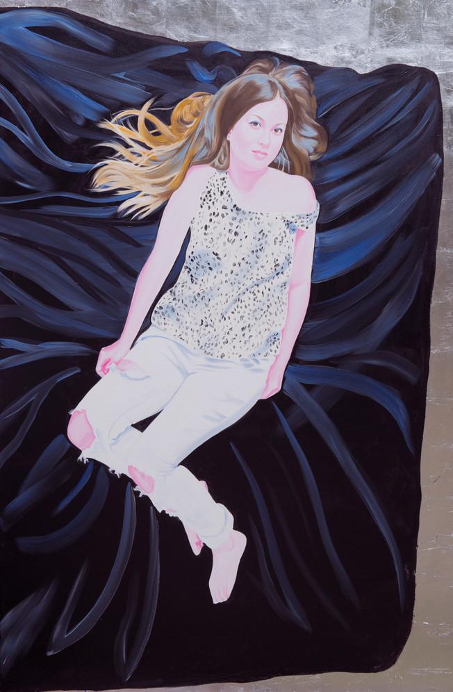 Diane 2014 huile et feuille d'aluminium sur toile /oil and aluminum leaf on canvas 195x130 cm