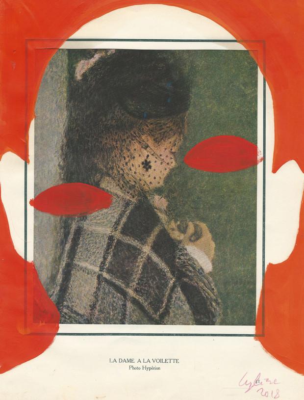 Selfportrortrait of my shadow femme à la voilette 2018 huile sur une page de livre /oil on page of a book 33x25cm
