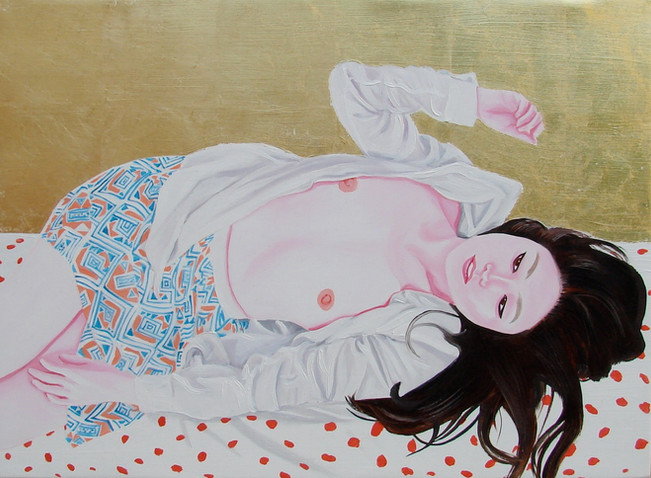 Eunji 2014 huile et feuille d'or sur toile /oil and gold leaf on canvas 33,5x44,5 cm