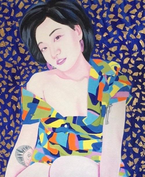 Mengzhu 2019 Huile et feuille d'or sur toile /oil on canvas 100x80 cm