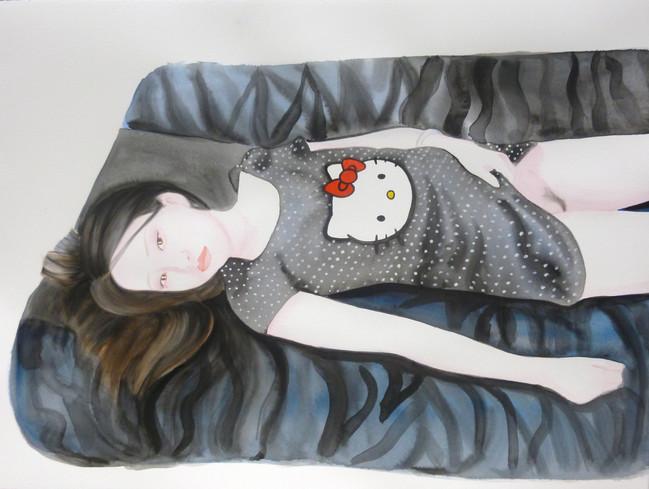 Hello Kitty 2016 aquarelle et gouache sur papier /watercolor and gouache on paper 56x77 cm