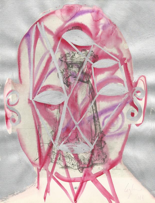Selfportrait of my shadow 2014 aquarelle et aluminium sur une page de livre /watercolor and aluminum on page of a book
