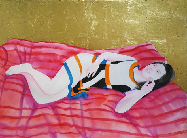 Sueching 2016 aquarelle, feuille d'or sur papier /watercolor and gold leaf on paper 55x77 cm
