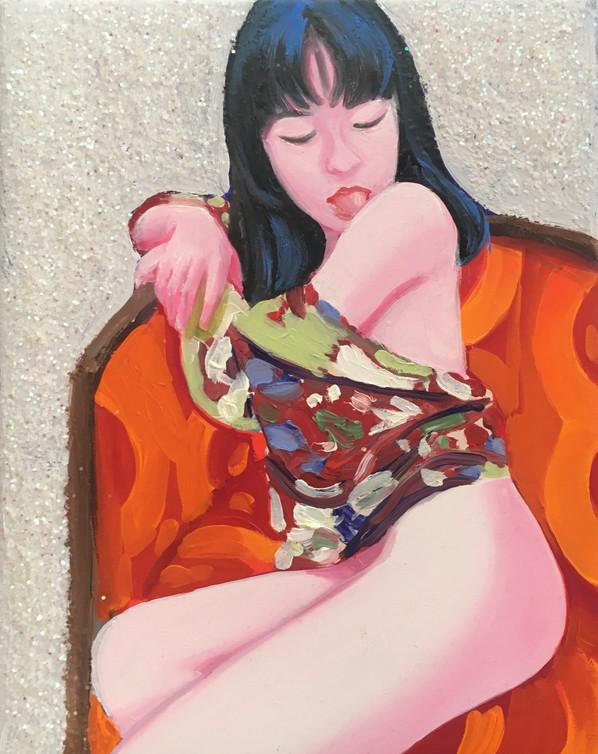 Sans titre 2020 huile et paillettes sur toile / oil and glitter on canvas 24x19 cm