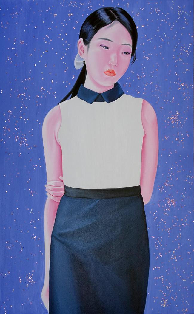 Huizi 2018 Huile et paillettes sur toile /oil and glitter on canvas  81x130 cm