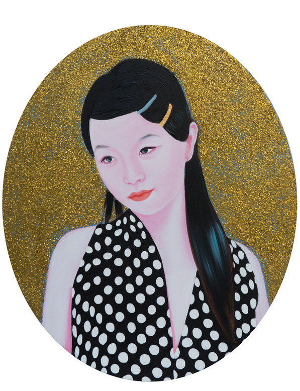 Ziqiao 2015 huile et paillettes sur toile /oil and glitter on canvas 55,5x44,5 cm