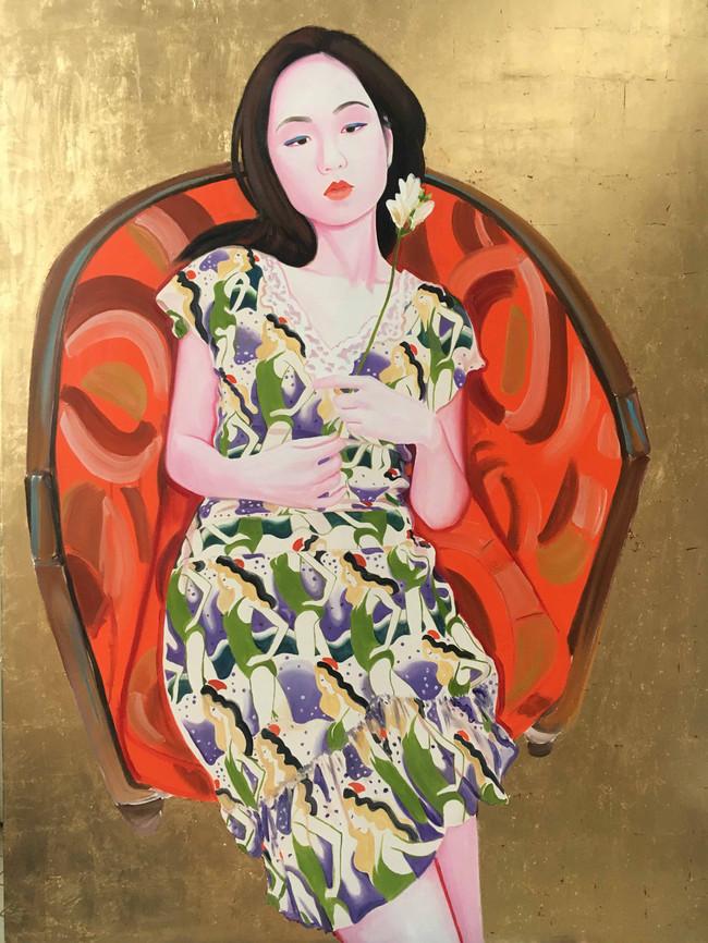 Laetitia 2019 huile et feuille d'or sur toile /oil and gold leaf on canvas 130x97 cm