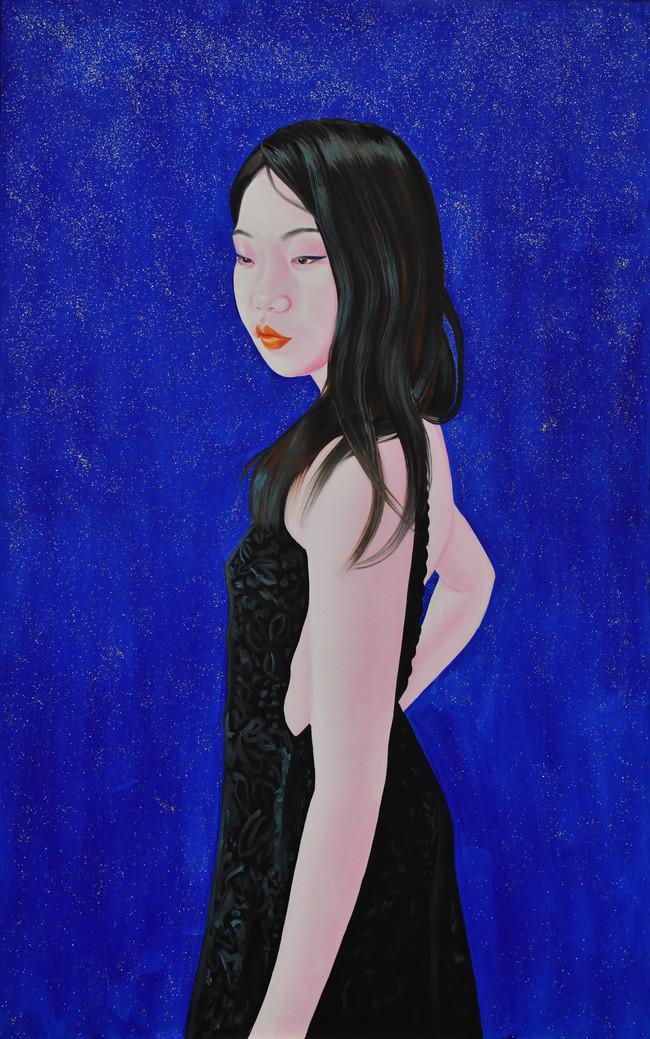 Huizi black dress 2018 huile et paillettes sur toile /oil and glitter on canvas