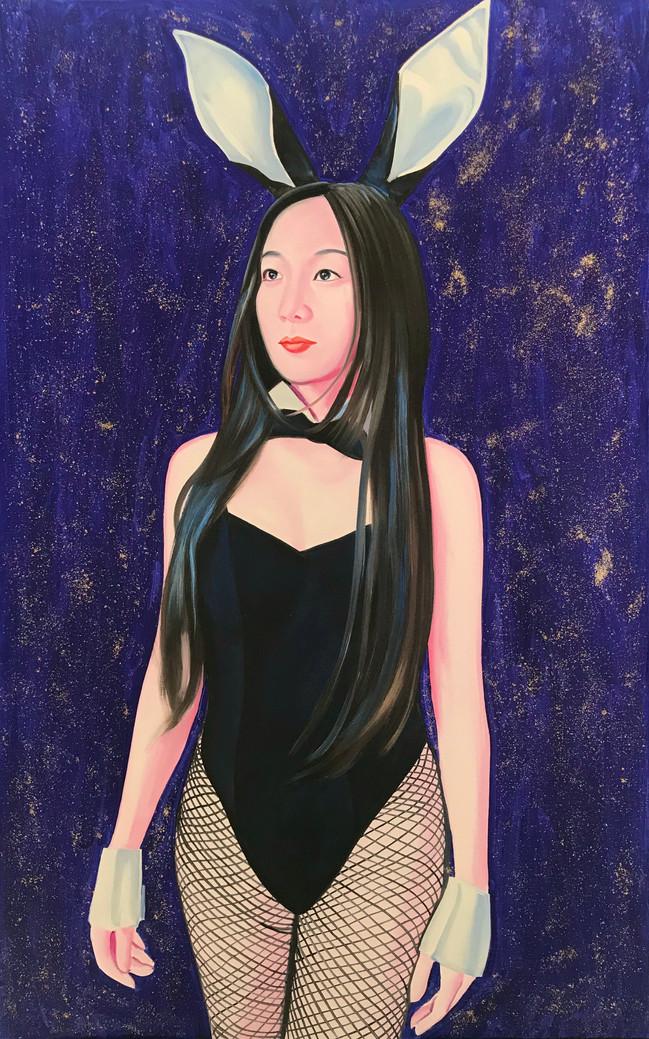 Kanaria 2019 Huile et paillettes sur toile /oil and glitter on canvas 116 x 73 cm