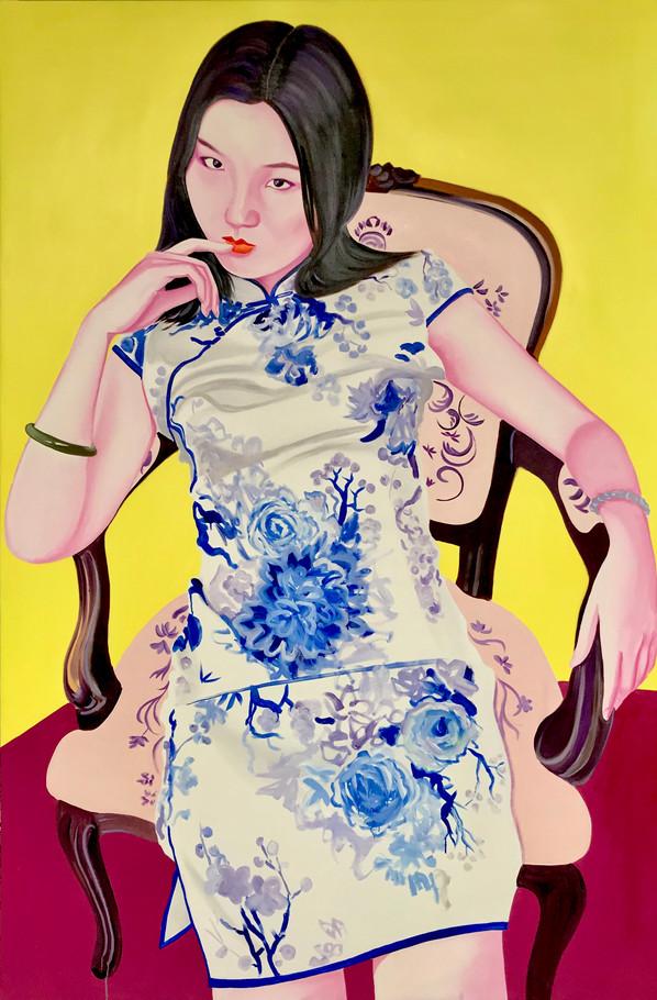 Gloria fond jaune 2020 huile sur toile /oil on canvas 195x130 cm