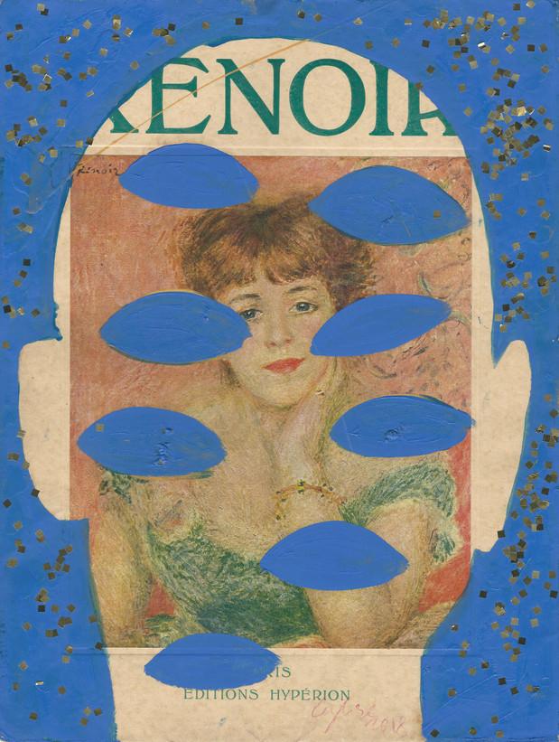 Selfportrait of my shadow Renoir 2018 huile et paillettes sur une page de livre /oil and glitter on cover of a book 33 x 25 cm