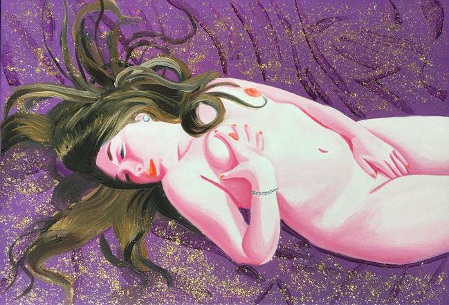 Charlène 2019 huile et paillettes sur toile  /oil on canvas 24x35 cm
