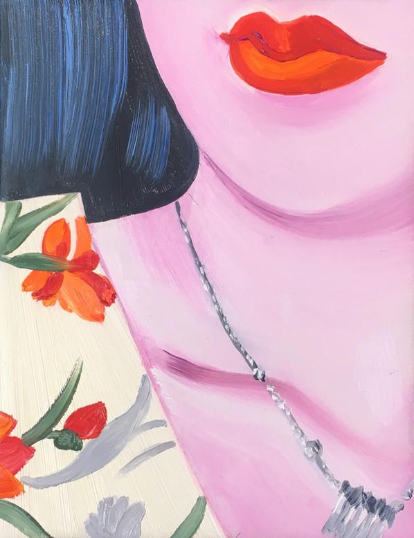 Gloria's lips 2020 huile sur toile /oil on canvas 14x18 cm