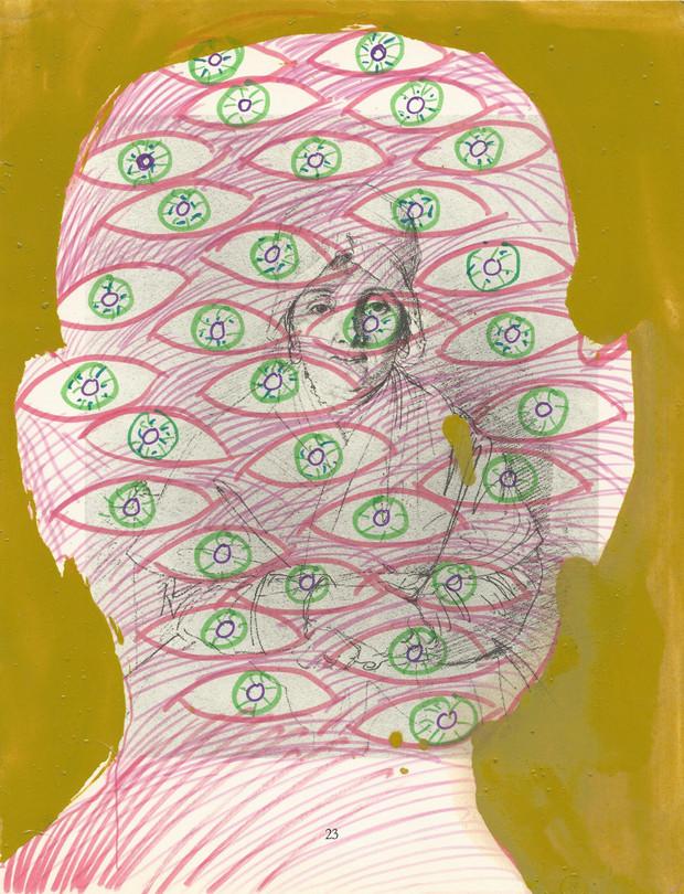 Selfportrait of my shadow 2004 huile et feutres sur la page d'un livre /oil and felt pencil on page of a book 29,5x22,5 cm