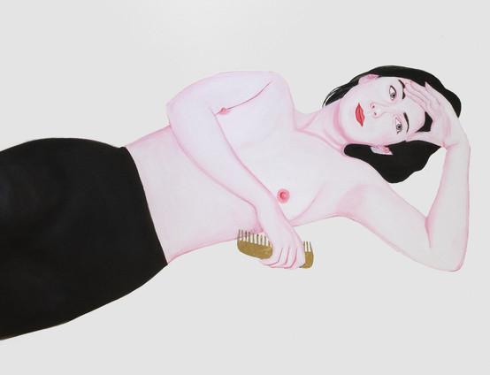 Jeanne 2009 huile et feuille d'or sur toile /oil and gold leaf on canvas 89x116 cm, collection particulière Italie