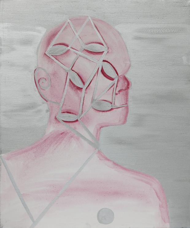 Autoportrait 2009 huile et aluminium sur toile /oil and aluminum on canvas 55x46cm