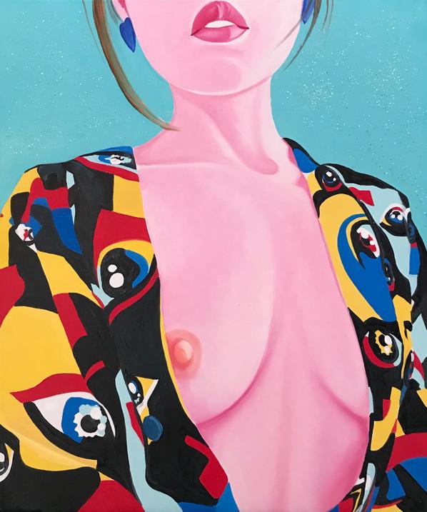 Mengzhu 2020 Huile et paillettes sur toile /oil on canvas 55x46 cm
