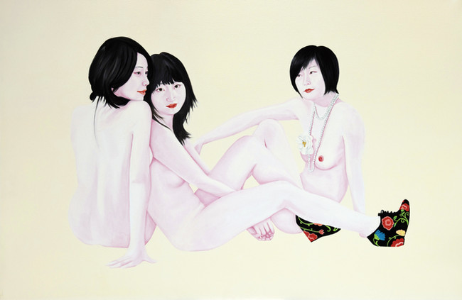 Ziqiao, Jing and Nan bis  2011 Huile et laque sur toile /oil and lacquer on canvas 135x195 cm