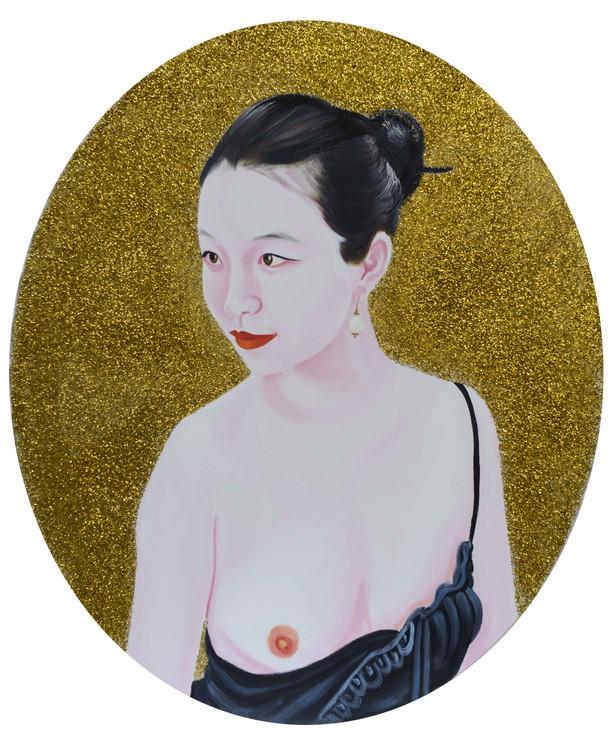 Ziqiao 2013 huile et paillettes sur toile /oil and glitter on canvas 56x45 cm