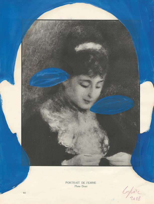 Selfportrait of my shadow portrait de femme 2018 huile sur une page de livre /oil on page of a book 33x25cm