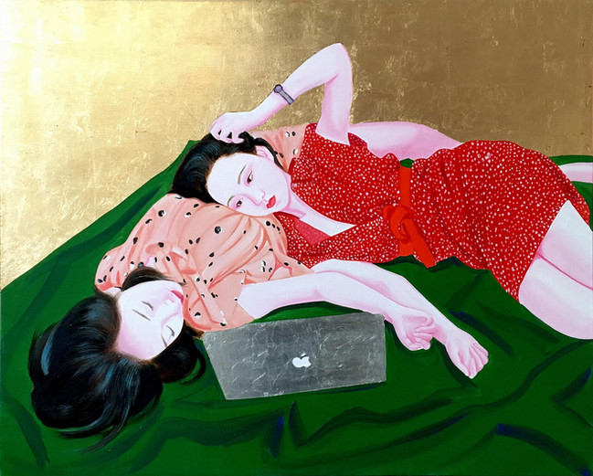 Laetita and Corine 2018 huile et feuille d'or sur toile /oil and gold leaf on canvas 60x73 cm